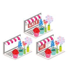 flowers online 3d isometric vector image