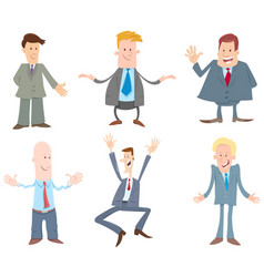 funny businessmen cartoon characters set vector image