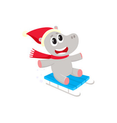 Funny hippo character riding a sled in winter vector