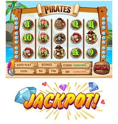 Game template with pirate crew characters vector image vector image