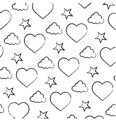 grunge heart and cloud with bright star background vector image