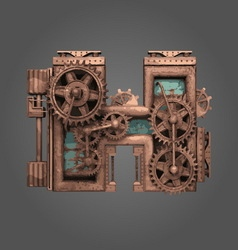 H rusted letter with gears vector
