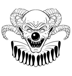 Hand drawn angry clown with horns tattoo vector