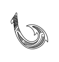 hand drawn hawaiian fish hook logo design inspirat vector image
