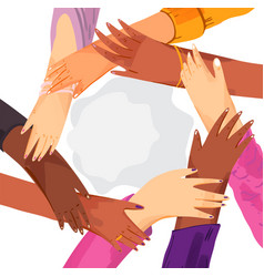 hands diverse group women putting together vector image