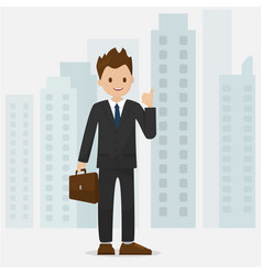 happy businessman make a thumbs gesture with citys vector image