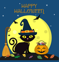 happy halloween the black cat of halloween sits vector image
