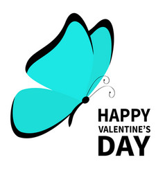 happy valentines day butterfly icon cute cartoon vector image