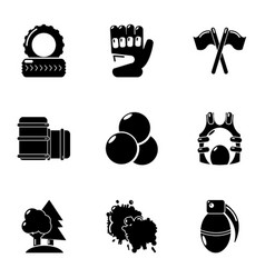 Hard game icons set simple style vector