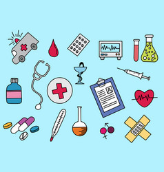healthcare doodle with color colour full design vector image