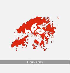 hong kong map flag vector image