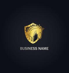 horse head shield gold logo vector image