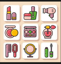 icons of beauty cosmetics 1 vector image