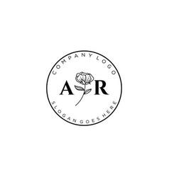 Initial ar letters botanical feminine logo vector