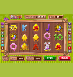 interface slot machine in cartoon wooden vector image