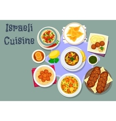 Israeli and jewish cuisine dinner dishes icon vector image