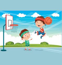 Kids playing basketball vector