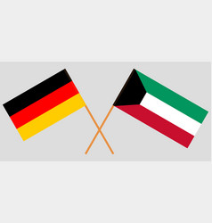 Kuwait and germany kuwaiti and german flags vector