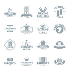 laundry cleaning logo icons set simple style vector image