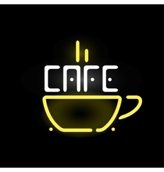Light neon cafe label vector image