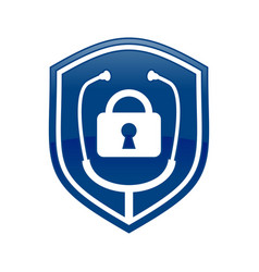 lock doctor shield logo blue symbol design vector image