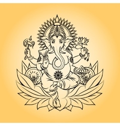 Lord ganesha indian god with elephant head vector