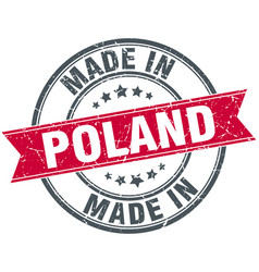 Made in poland red round vintage stamp vector