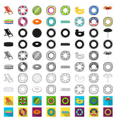 Multicolored swimming circle cartoon icons in set vector