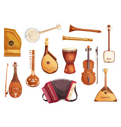 Musical folk instruments watercolor icons vector