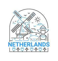netherlands - modern line travel vector image