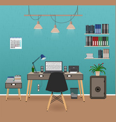 office room interior with workspace workplace vector image