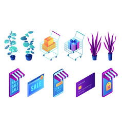 online shopping and plants isometric 3d vector image