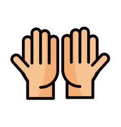Open hands gesture palm traditional line and fill vector