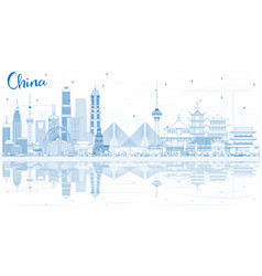 Outline china city skyline with reflections vector