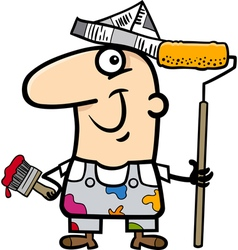 Painting worker cartoon vector