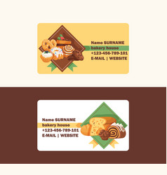 Pastry business card baked cake cream vector