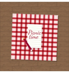 Pencil and checkered fabric on wooden background vector