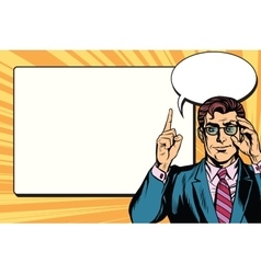 Pop art businessman with frame for text vector image