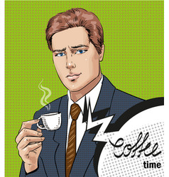 pop art of man with cup of vector image