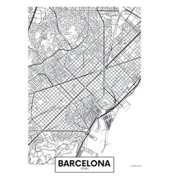 Poster map city barcelona vector