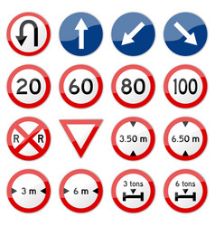 Road sign glossy set of glossy road sign vector