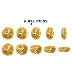 rupee 3d gold coins set realistic vector image