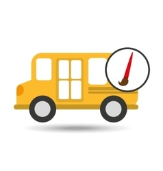 school bus icon brush paint graphic vector image