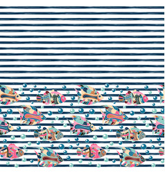 Seamless pattern with different fishes on striped vector