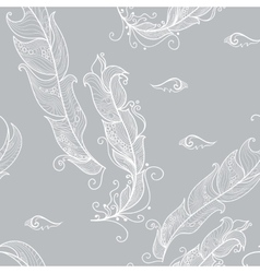 seamless pattern with white outline feathers vector image