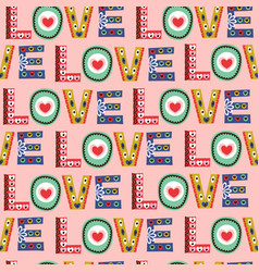 seamless pattern with word love vector image