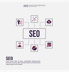 seo concept for presentation promotion social vector image