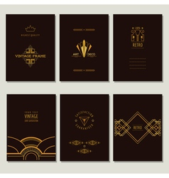 Set art deco cards and vintage frames vector