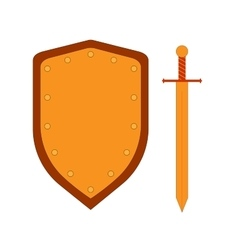 Set of sign shield and sword gold 3007 vector