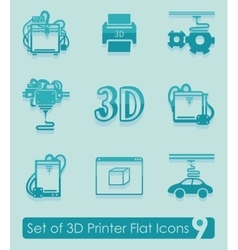 Set of three d printer icons vector image
